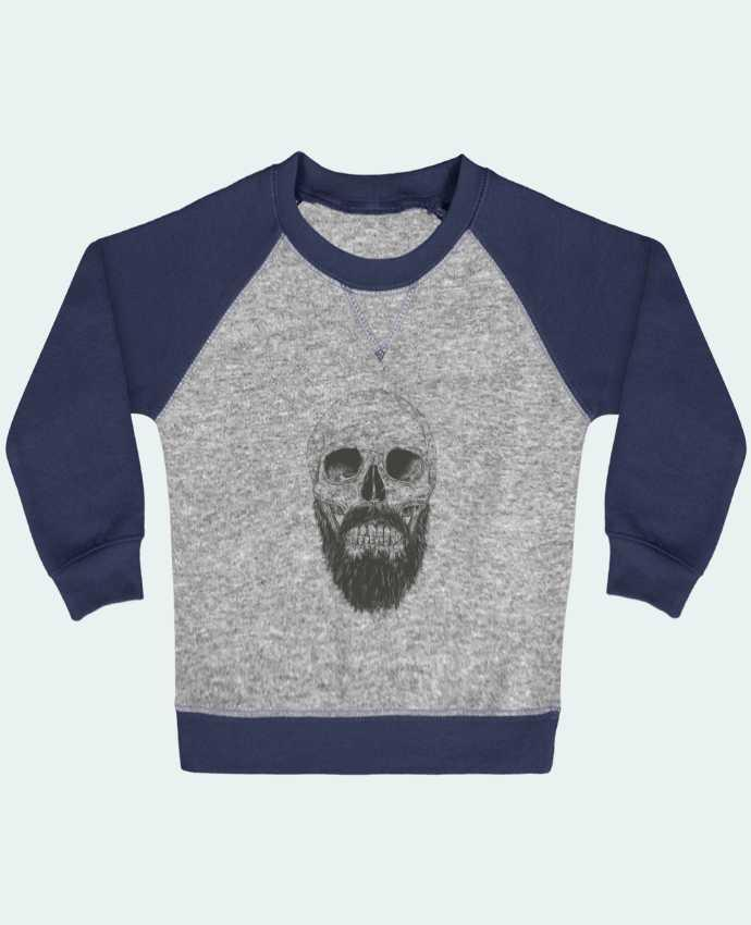 Sweat Shirt Bébé Col Rond Manches Raglan Contrastées Beard is not dead par Balàzs Solti
