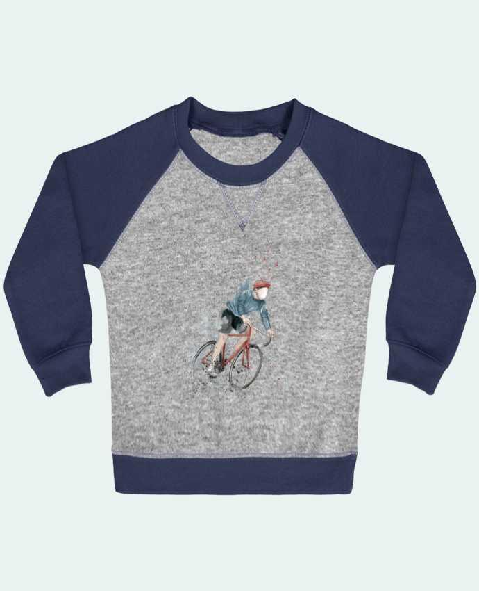 Sweat Shirt Bébé Col Rond Manches Raglan Contrastées I want to Ride par Balàzs Solti