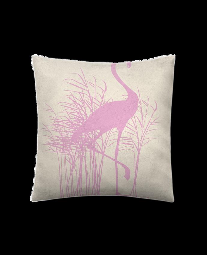 coussin toucher peau de p che 41 x 41 cm flamant rose dans roseaux studiolupi. Black Bedroom Furniture Sets. Home Design Ideas