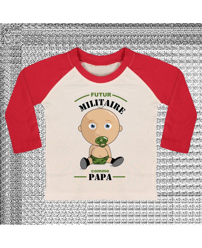T-shirt Bébé Baseball Manches Longues Futur militaire comme papa par GraphiCK-Kids