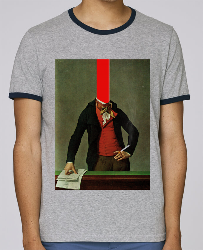 T-Shirt Ringer Contrasté Homme Stanley Holds The red stripe in the head and the cigarette in the hand pour femme par Marko Köppe