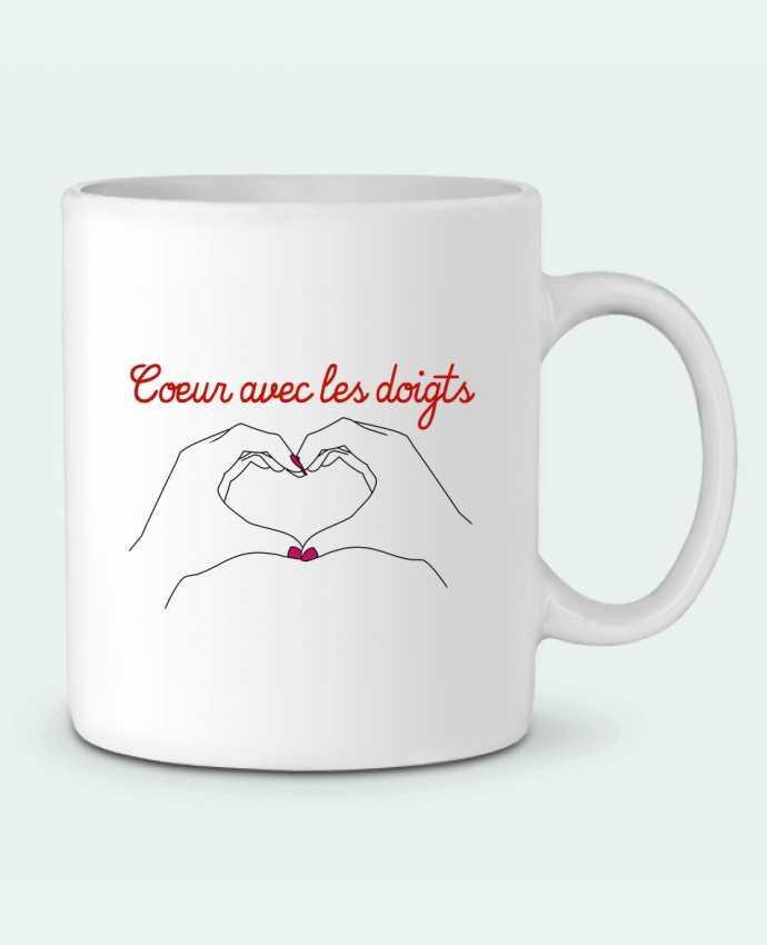 Mug en Céramique Coeur avec les doigts par WBang