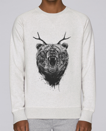 Sweat Col Rond Homme Stanley Strolls Angry bear with antlers par Balàzs Solti